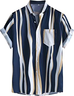 Men's Casual Stripe Print Short Sleeve Shirts Vintage Button Down Hawaiian Shirt Turn-Down Collar Casual Beach Tops