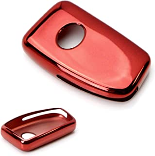 iJDMTOY Chrome Finish Red TPU Key Fob Protective Cover Case For Lexus IS ES GS RC NX RX LX 200 250 350 Remote Key
