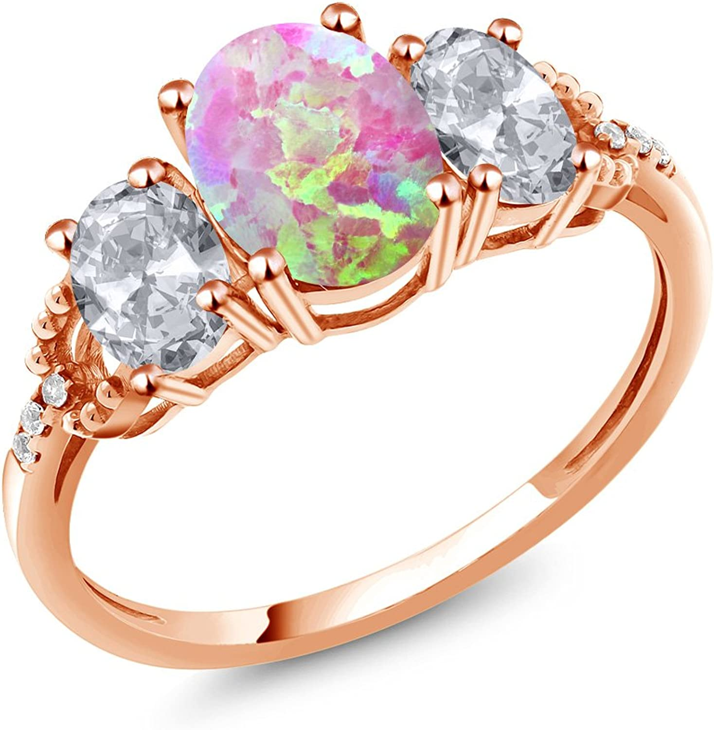 2.09 Ct Cabochon Pink Simulated Opal and Topaz 10K pink gold Diamond Accent Ring