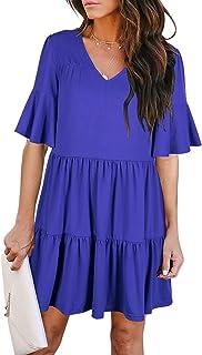 Women's Bell Sleeve Shift Dress Summer Casual V-Neck Ruffle Loose Flowy Swing Shift Mini Dresses