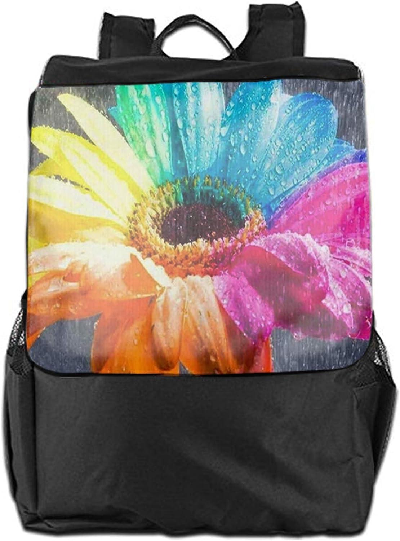 Unisex Boys Girls Nice Rainbow Flower Print Travel Leisure Daypack Bag