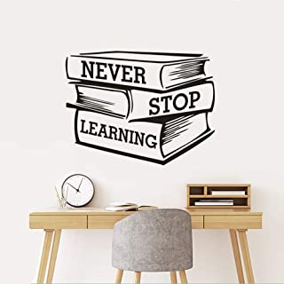 Wall Art Decor Decals Removable Mural Library Bookshop Decor Never Stop Learning Quote Wall Sticker Studying Books Vinyl Wall Window Decal Classroom Poster Art
