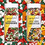 Christmas Sequins & Ugly Sweater Natural Sprinkle Set by Supernatural, Holiday Shapes, No Artificial Dyes, Soy Free, Gluten Free, Vegan, 3oz (Pack of 2)