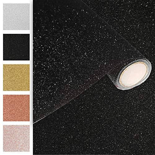 Askol DecoMeister Klebefolien Deko-Folien Selbstklebefolie Möbelfolie Selbstklebend Glitzernd Einfarbig Einheitliche Glitter-Farbe 45x150 cm Glitzer Schwarz