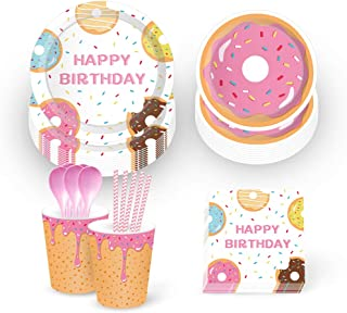 Donut Party Supplies,Donut Grow Up Party Supplies–Serves 16–Includes Donut Paper Plates,Cups,Napkins and Straw for Donut Party, Donut Grow Up Party, Hawaiian Party,1st Birthday,Baby Shower,Picnic,Thanksgiving,Christmas and Happy New Year(113Pcs)