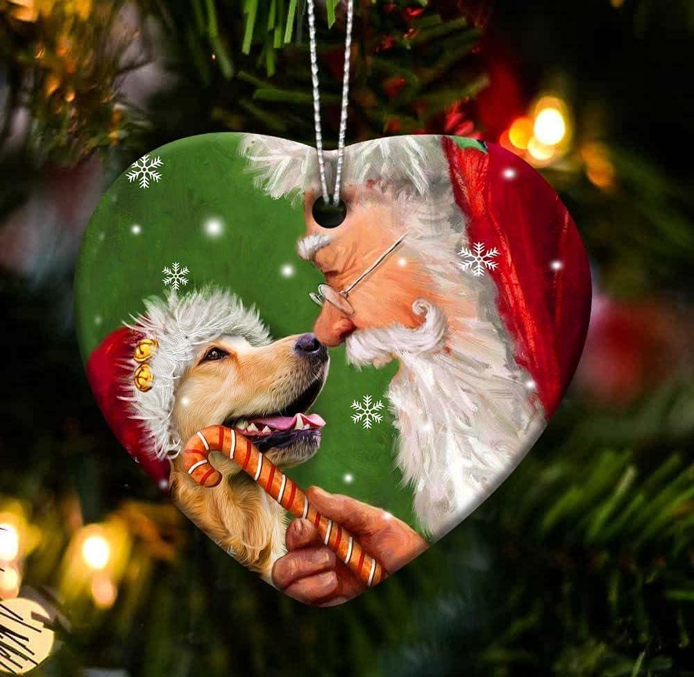Golden Retriever Happy Heart Dear Santa Gift for Dog Lover 2021 Christmas Tree Ornament Topper Decoration Homemade Mica Christmas Eve Door Ball Vintage Large Unique Xmas Decor Sets