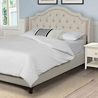 Cardinal & Crest Modern Bed Frame - Upholstered Bed w/Nailhead Trimmed Headboard and Button Tufting - Solid Mattress Foundation - Metal Support Slats - Easy Assembly Bedframe - Queen Size, Tan Color