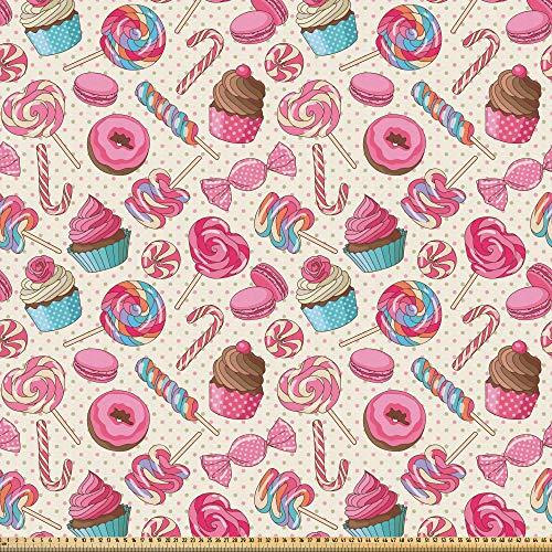 ABAKUHAUS Bastón De Caramelo Tela por Metro, Deliciosa Comida En Puntos, Microfibra Decorativa para Artes y Manualidades, 3M (230x300cm), Multicolor