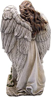 Wowser Cast Resin Guardian Angel Memorial Box and Your Memory is My Keepsake Verse Garden, 16 Inch
