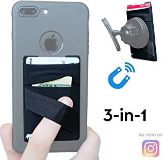 NEW 3-in-1 Stick On Walletfor Any Phone Case | Unique: Spandex + Mounts to Magnets + Double-Pocket + Finger Strap + RFID Block – Strong 3M Sticky + Magnetic (iPhone XS Max 8 Plus, Samsung S10 S9 etc)
