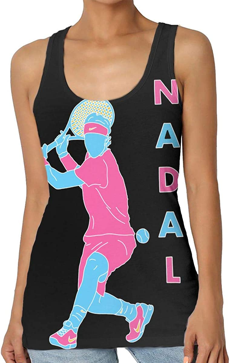 YuHuauhuh Rafael Nadal Ladies Fashion Trend Music Tank Vest, Casual Sports Sleeveless Vest