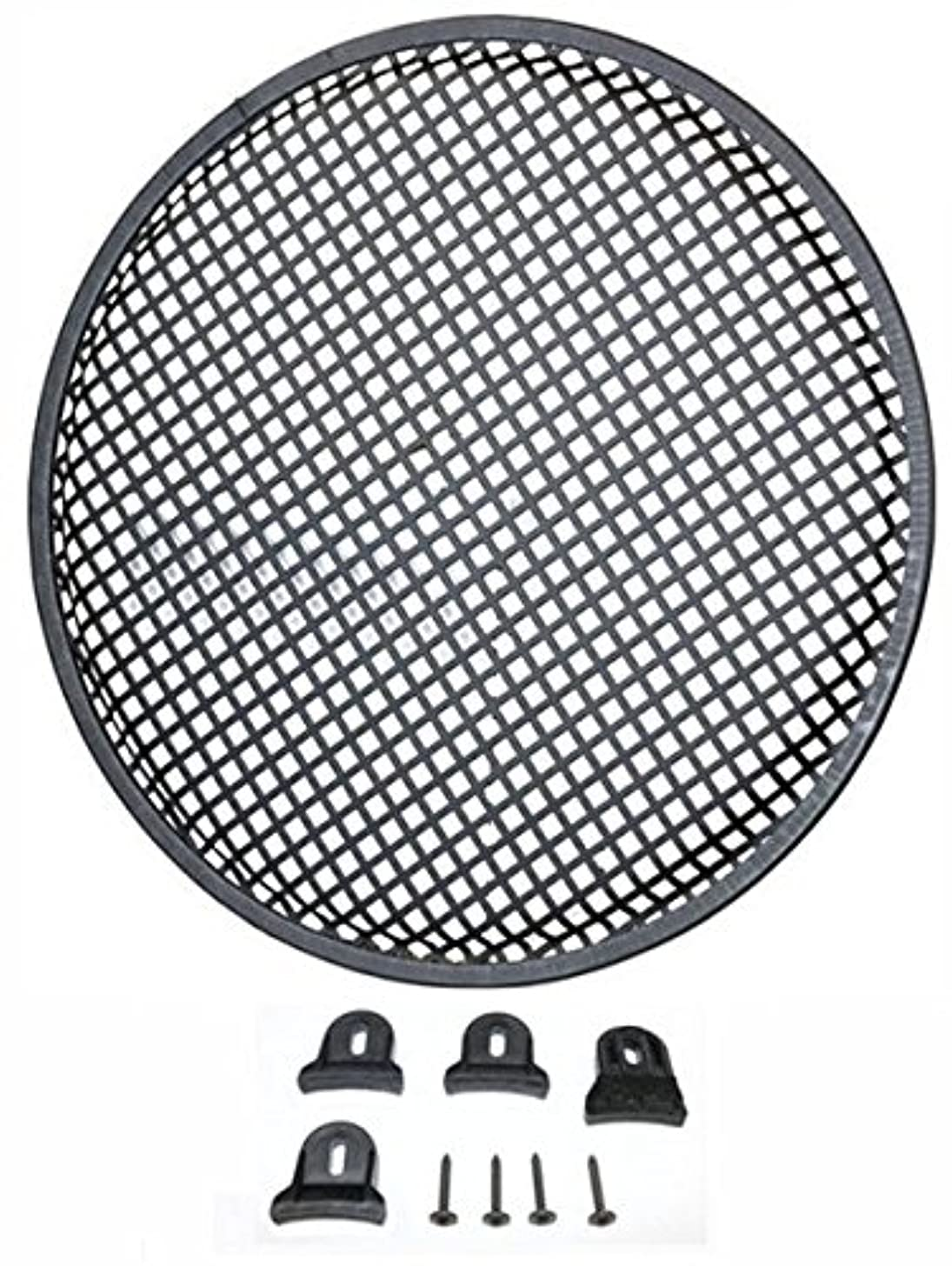 Durable 15-in Diameter Steel Monster Mesh Grill For 15-in Woofers With Hardware Steel Waffle Mesh Rubber Edge Includes Four Slip Resistant Plastic Grill Clamps And Appropriate Screws DEEJAYLED TBH15GR