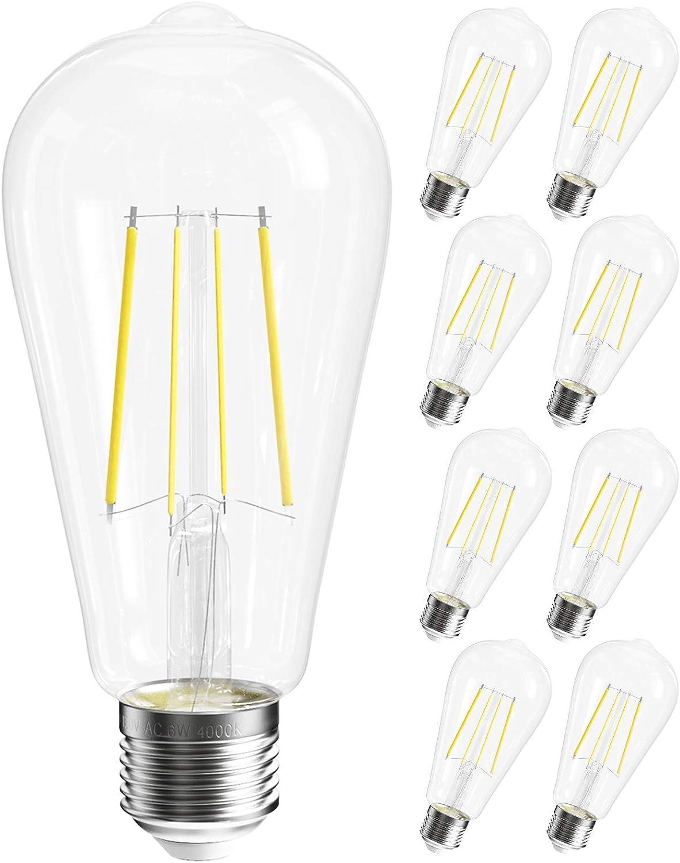 Award SHINESTAR Max 81% OFF 8-Pack Dimmable E26 LED Edison Bulb 60w Equivalent 4