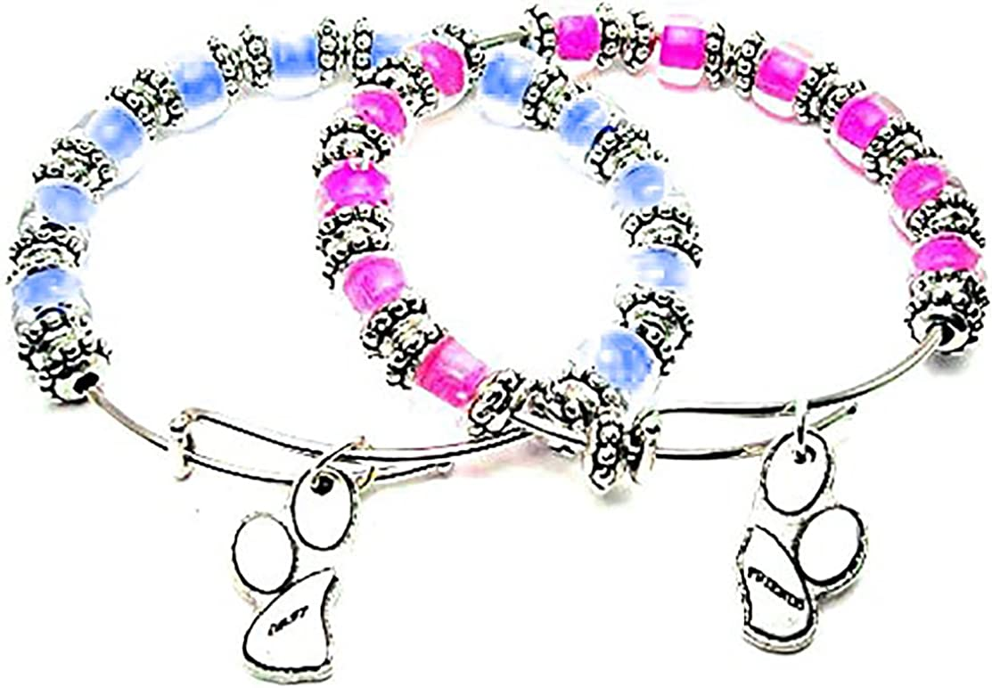 ChubbyChicoCharms Spring new work Superior 2 Best Friend Paws Hot Sky Pink and Blue Glass