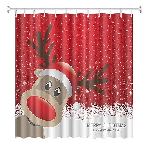 Bath 2019 Latest Design 3d Christmas Deer 79 Shower Curtain Waterproof Fiber Bathroom Windows Toilet