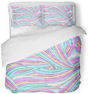 MIGAGA Decor Duvet Cover Set Twin Size Blue Unicorn Swirl Printseamless Pattern in Pink Mermaid Rainbow Abstract All Over 3 Piece Brushed Microfiber Fabric Print Bedding Set Cover