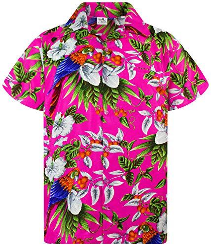 King Kameha Funky Hawaiian Shirt, Shortsleeve, Cherryparrot, Pink, XL
