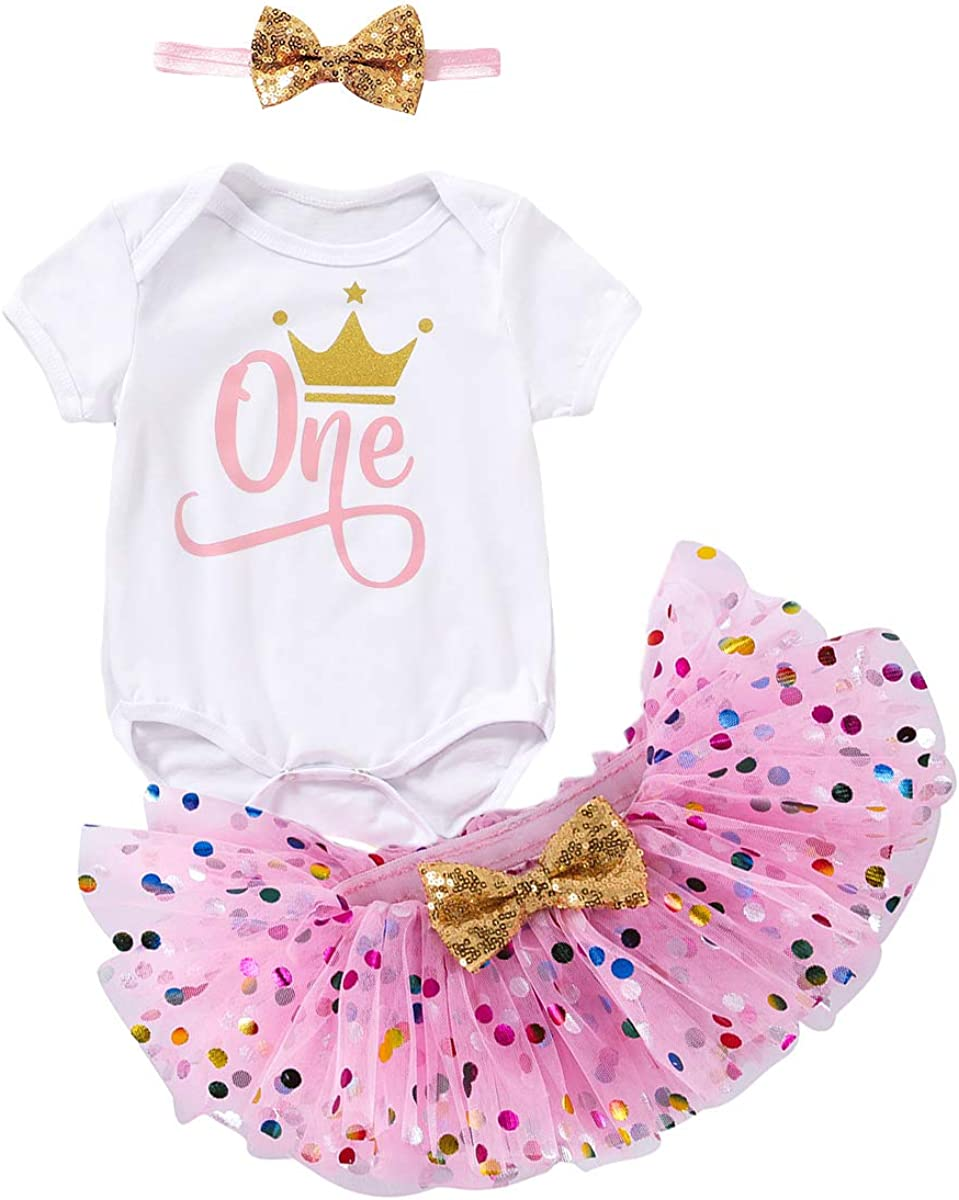 Baby Girls One 1st Birthday Outfit Short Sleeve Sequins Romper Tutu Dress Headband 3Pcs Skirt Set