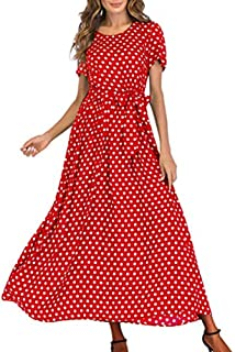 Women Dresses for Party Vintage Polka Dot Long Dress Flared A Line Swing Casual Cocktail Maxi Dress with Belts