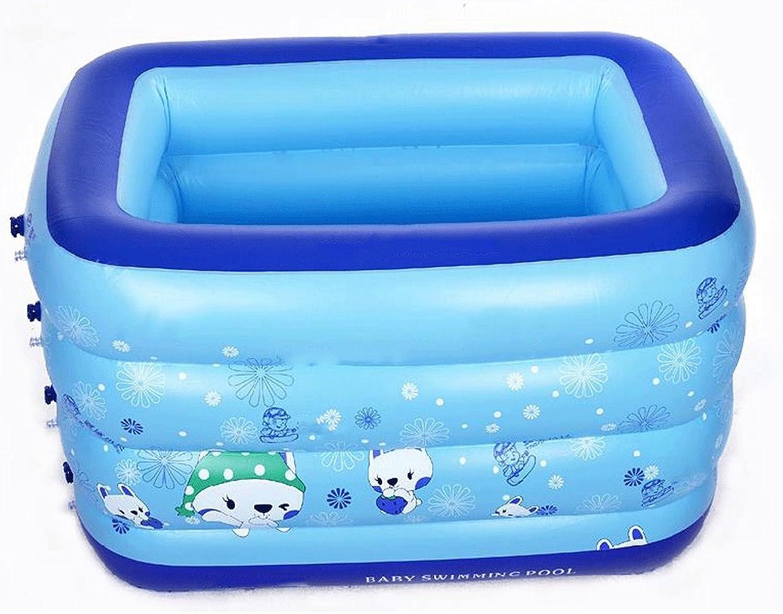 Aufblasbarer Pool Familie übergroe Schwimmbad runde quadratische aufblasbare Badewanne aufblasbare Badewanne LITING_WANG (Kapazitt   140  90  85cm, Farbe   Blau)