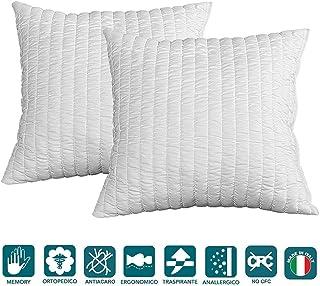 Evergreenweb - Pack de 2 almohadas 60x60 viscoelásticas de copos altos 15 cm Perfecta adaptabilidad al cuello transpirable...