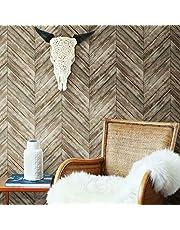 oommates Herringbone Brown Wood Boards Peel and Stick Wallpaper