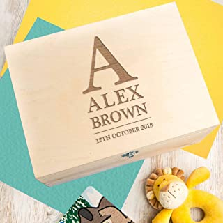 Personalized Wooden Keepsake Box for Kids - Baby Name Gifts for Christening - Kids Personalized Gifts - initial Gifts for Kids - Gift New Mom