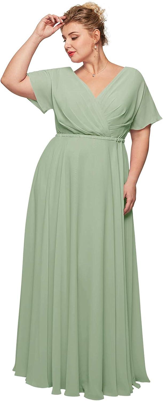 ALICEPUB Wrap V-Neck Chiffon Bridesmaid Dresses Long Maxi Formal Dress for Women Party Evening Short Sleeves