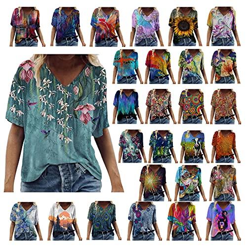 Camisetas Manga Corta Mujer Baratas, Casual T-Shirt con Estampado Verano Originales Suelto Cuello Redondo Tallas Grandes Tops Deporte Blusa Camisa de Vestir tee Shirts Basicas Ropa (#01 Azul, M)