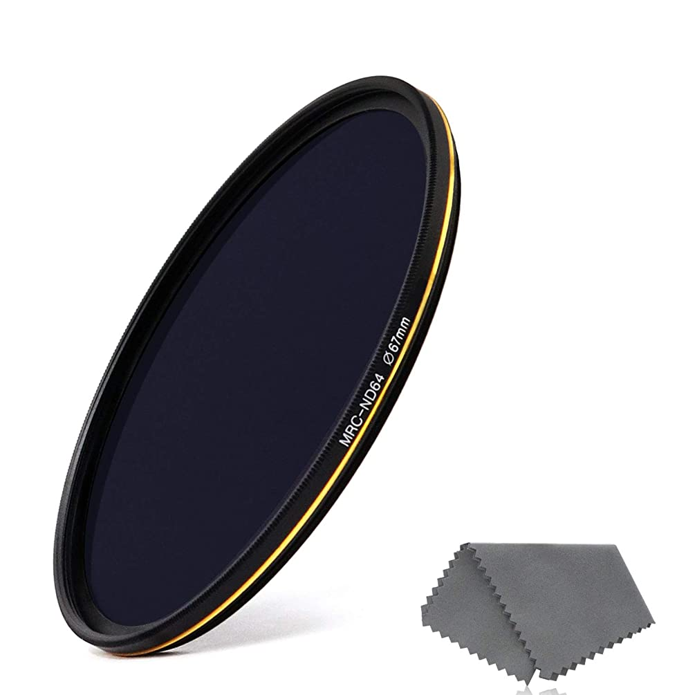 LENSKINS 67mm ND64 Filter, 6 Stop Neutral Density Filter for Camera Lenses, 16-Layer Multi-Resistant Coated, German Optics Glass, Weather-Seal ND Filter with Lens Cloth