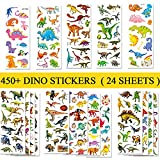 BEESTECH 450+ Dinosaur Stickers for Kids Boys Girls Toddlers, Teacher Reward Stickers, Potty Chart Training Stickers, Dinosaur Party Favor & Supplies, Dinosaur Favor Bags Hats Goody Gift Bags Boxes