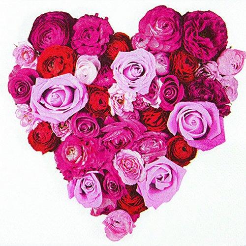 20 Servietten Heart of Roses – Herz aus Rosen / Blumen / Hochzeit 33x33cm