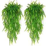 JustYit 2 plantas artificiales colgantes de 80 cm, falsas hiedra vi, helechos falsos...