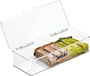 mDesign Plastic Stackable Kitchen Pantry Cabinet/Refrigerator Food Storage Container Box, Attached Lid - Organizer for Coffee, Tea, Packets, Snack Bars - 13 Inches Wide, Includes 32 Labels - Clear