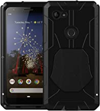 Pixel 3a Case,Google Pixel 3a Metal Case with Gorilla Glass Screen Protector Armor Tank Military Aluminum Alloy Bumper Hybrid Soft Rubber Military Shockproof Hard Defender Metal Cover,Black