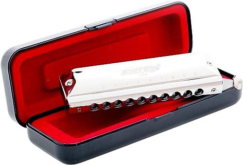 East top Harmonica chromatique professionnel 10 trous 40 tons en Do, Instrument avec étui Top Grade pour adults, joue...