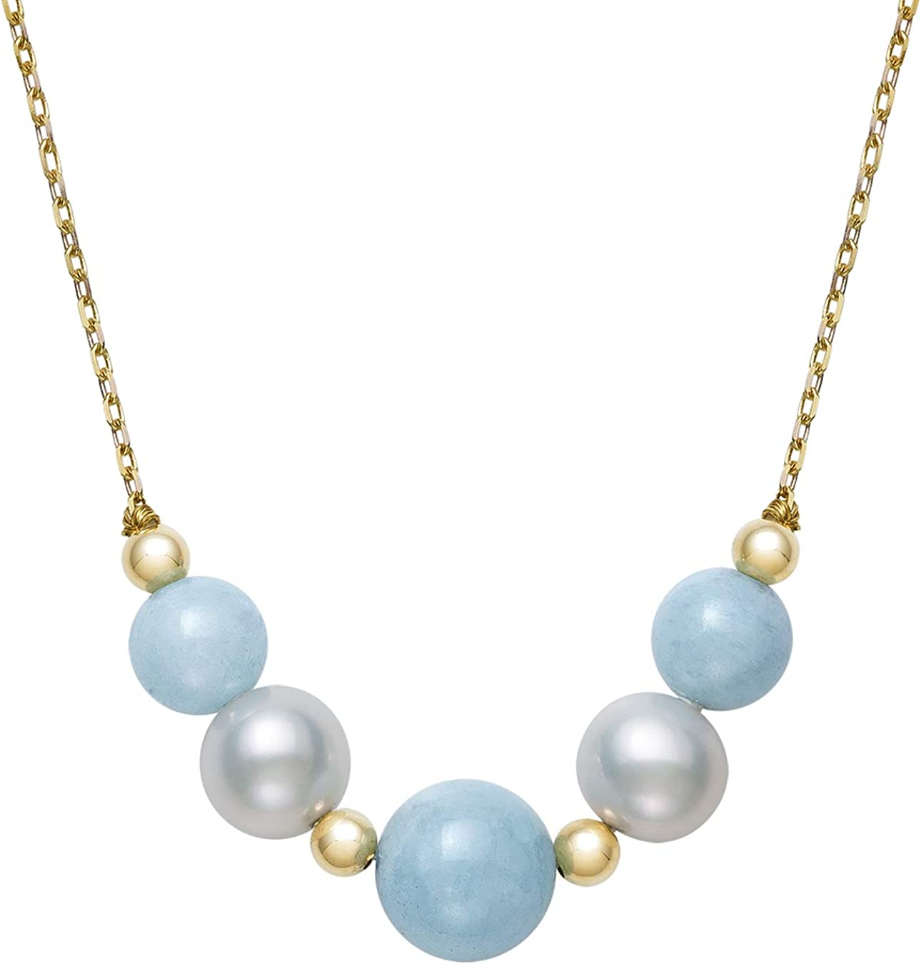 """14k Gold Cultured Freshwater Pearl and Natural Aquamarine Chain Necklace, 18"""""""