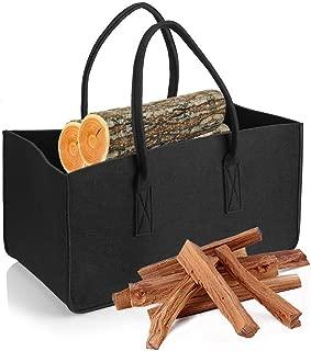 HomeYoo Firewood Basket, Shopping Basket, Felt Log Bag,Cloths Bags, Laundry Hamper Baskets with Handle for Carry Wood,Toys,Newspaper,Go Shopping,etc (Black)