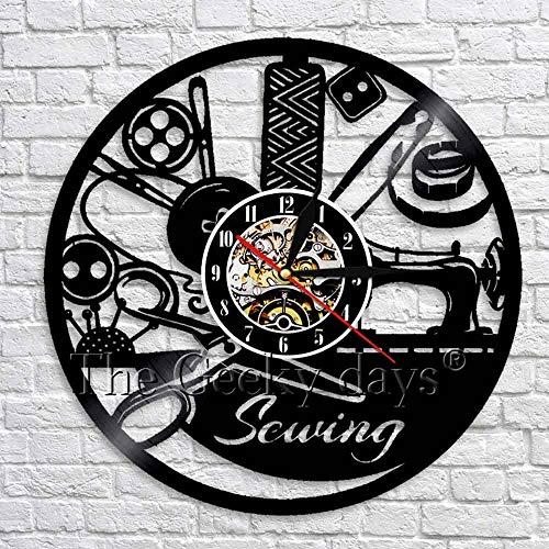 wtnhz LED-Reloj de Pared con Disco de Vinilo Retro para Coser, máquina de Coser, Reloj Decorativo para decoración de Pared, Reloj de Pared 3D