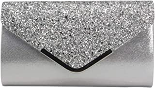 SODIAL Women Glittered Envelope Clutch Purse Evening Bag Lustrous Party Handbag Shiny Shoulder Bag(Pink)
