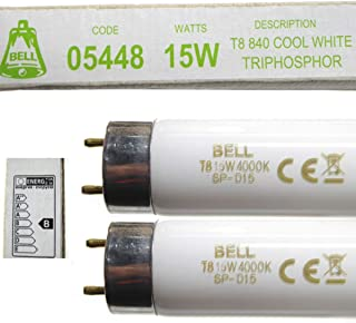 Bell Lighting 05448 Lot de 2 tubes fluorescents 15 W T8 450 mm Blanc froid 4000 K