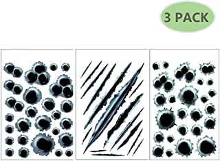 AMOUTOR 3D Bullet Hole Stickers Set of 3, Simulation Crack Bullet Hole Decals Fits for All Car Motorcycle Laptop Decor