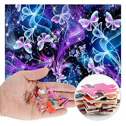 Puzzle 1000 Teile, Lila Schmetterling Puzzle für Erwachsene Kinder,Impossible Puzzle,Geschicklichkeitsspiel für die ganze Familie,Farbenfrohes Legespiel,Papier Große Puzzle,75 x 50cm/29.53 x 19.69inch