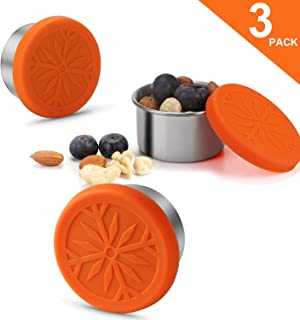 Mini 1.6oz Leak Proof Stainless Steel Condiment Containers with Silicone Lids Set of 3, Salad Dressing Containers, Snack Container - Dressing to Go for Lunch, Food-grade Silicone, BPA Free