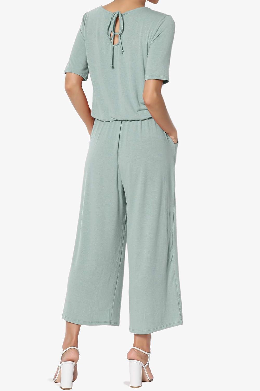 TheMogan S~3X Summer Casual Short Sleeve Elastic Waist Capri Culotte Jumpsuit