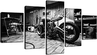 Vintage Motorcycle Workshop Bedroom Canvas Wall Art for Living Room Home Decor HD Print Pictures Paintings Posters Artwork Room Decor Framed 5 Pcs Gifts Black and White (60W x 32H)