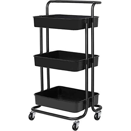 3-Tier Rolling Carts with Wheels Storage Cart Makeup Cart with Roller Wheels Mobile Storage Organizer for Kitchen, Bathroom, Office, Coffee Bar