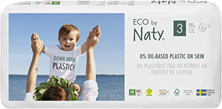Eco by Naty, Size 3, 9-20 lbs, Plant-based premium ecological diaper with 0% oil plastic on skin, 50 Count, Pack of 2