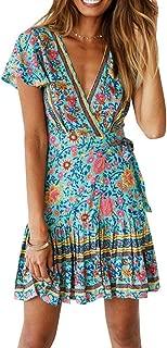 bulingbulingseason Women Summer Short Ruffled Sleeves Dress Girls Floral Pattern V-Neck Dress