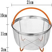 DishyKooker 304 Stainless Steel Mesh Steamer with Silicone Handle Multi-Function Cooker Fruit Cleaning Basket Orange House...